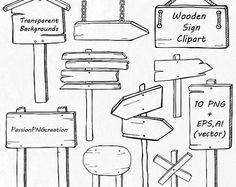 Mano dibujada madera Sign Imágenes Prediseñadas, Doodle muestras Prediseñadas, PNG, EPS, AI, vector archivos, digital gráfico, para Personal y comercial uso
