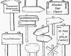 Sketch set of wooden signposts and signboards. Hand drawn