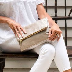 Metallic Foldover Clutch Bag. Ethically made in America by Bevy Goods (bevygoods.com)