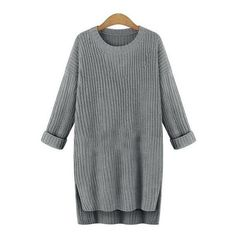 High Low Slit Grey Sweater Dress ($18) ❤ liked on Polyvore featuring dresses, grey, high-low dresses, long sleeve knee length dress, grey sweater dress, gray long sleeve dress and mullet dress