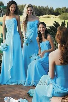 Sheath/Column Strapless Chiffon bridesmaid dresses - IZIDRESS.com
