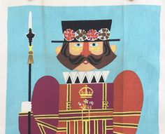 Linen Souvenir Towel British Soldier Beefeater Royal Guard Lamont Textile by NeatoKeen on Etsy