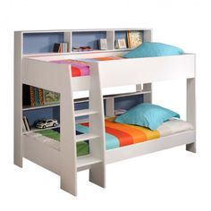 Latitude Single Bunk Bed - White - Bunk Beds - Kids Bedroom - Kids Furniture - bookcase behind bed Cheap Bunk Beds, Bunk Beds With Storage, Bunk Bed With Trundle, Cool Bunk Beds, Bunk Beds With Stairs, Kids Bunk Beds, Bed Storage, Loft Beds, King Single Bunk Beds