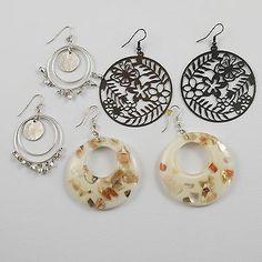 3 Pair Large Pierced Earrings Butterflies Dangles & Earth Tones