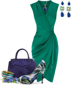 """""""wrap dress in green and blue"""" by meganpearl ❤ liked on Polyvore"""