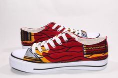 www.cewax.fr aime ces basket de style ethnique afro tendance tribale tissu wax africain sneakers african prints ankara rouge jaune conscientious-creation