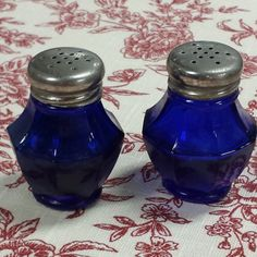 Cobalt Blue Salt and Pepper Shakers by FeeneyFinds on Etsy