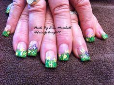 Spring hand painted Acrylic nails #nailart  Www.facebook.com/eMarshallArts77