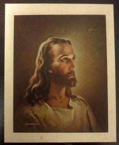 Antique Kreibel & Bates Lithograph Picture of Jesus (1941) - Vintage Religious Collectible my grandma has a copy!