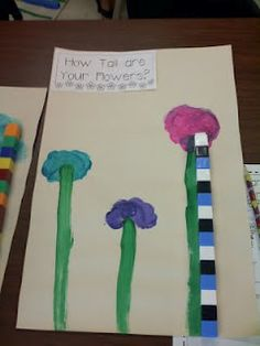 Students make tall flowers and then measure them in centimetres