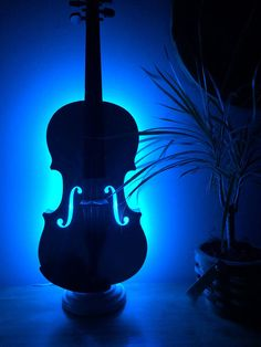 Violin Table Lamp. Beautiful restored white violin with color