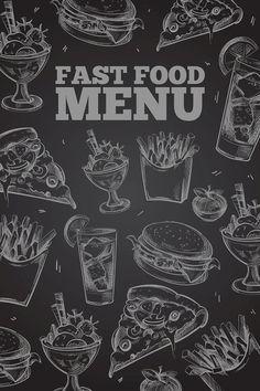 Fast food menu on chalkboard  #chalkboard