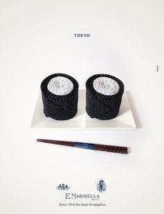 E. Marinella: anúncios de gravata simulam pratos da culinária estrangeira