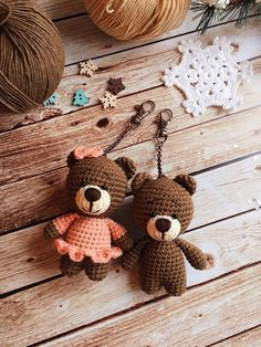 Crochet keychain/Handmade keychain/Bag accessories/Amigurumi animals/Forest animals/Small keychain/Baby bear/Plushie/Baby gift/Handmade toy Crochet Bear Crochet keychain/Handmade keychain/Bag accessories/Amigurumi animals/Forest animals/Small keychain/B - Beau Crochet, Crochet Mignon, Crochet Bear, Crochet Patterns Amigurumi, Cute Crochet, Amigurumi Doll, Crochet Animals, Beautiful Crochet, Crochet Dolls