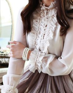 Victorian Inspired.   Feminine Sheer Ivory Silk Blouse
