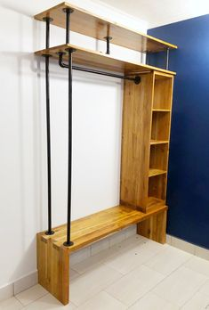 Wall cabinet made of teak - cabinet -You can find Teak and more on our website.Wall cabinet made of teak - cabinet - Diy Home Furniture, Pipe Furniture, Furniture For Small Spaces, Pallet Furniture, Furniture Design, Closet Bedroom, Bedroom Wall, Home Projects, Room Decor