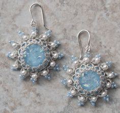 matching earrings. They are made with two strands of silver sewing thread.