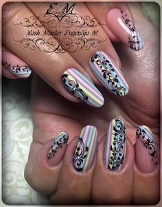 Amazing Tips For The Best Summer Nails – NaiLovely Long Round Nails, Lace Nail Design, Tape Nail Art, Nagel Bling, Mobile Nails, Nail Art Stripes, Plaid Nails, Fingernail Designs, Creative Nail Designs