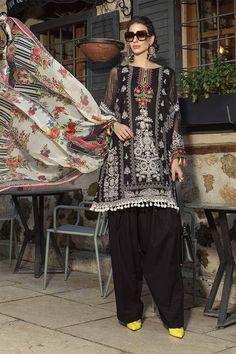 Original Maria B Lawn 2019 Pakistani Designer Salwar Kameez Suit Dress Buy Now – Linen Dresses For Women New Pakistani Dresses, Pakistani Dress Design, Pakistani Designers, Pakistani Suits, Print Chiffon, Chiffon Dress, Maria B Lawn, Kleidung Design, Pakistani Salwar Kameez