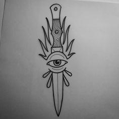 37 Ideas For Design Tattoo Old School Eyes – Tattoo Tattoo Sketches, Tattoo Drawings, Body Art Tattoos, New Tattoos, Cool Tattoos, Skink Tattoo, Knife Tattoo, Tatuagem Old School, Aesthetic Tattoo