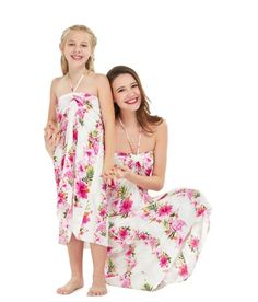 4e7fc581a338 Matching Mother Daughter Set Women and Girl Butterfly Dress in Pink Hibiscus  Vine White Mother Daughter