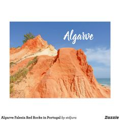 Algarve Falesia Red Rocks in Portugal Postcard - travel photos wanderlust traveling pictures photo Algarve, Picture Photo, Travel Photos, Portugal, Rocks, Mountains, Postcards, Red, Traveling