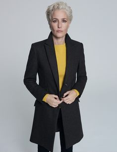 Single Breasted Wool Tailored Coat from The Gillian Anderson Capsule Collection at Winser London British Clothing Brands, Winser London, Tailored Coat, Gillian Anderson, Swing Coats, Silk Slip, Trends, Fashion Outfits, Womens Fashion
