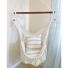 Hanging Chair Sitting Hammock Porch Swing With Macrame Fringe Off White  Organic Cotton Indoor/Outdoor Mission Hammocks Handmade Crochet