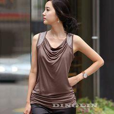 2016 New Korean Women Blouse Female Ladies Sleeveless Draped Rivet Slim Casual Summer Elastic Cozy Blouse Tank Tops Coffee 1357 #T-Shirts #Popular