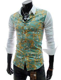 (CE59-KHAKI) Slim Fit Front Pattern Long Sleeve Stretchy Shirts