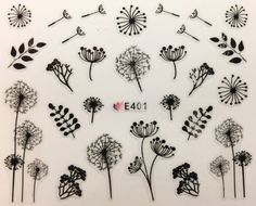 Nail Art Water Decals Stickers Transfers Spring Water Effect Flowers Tulips Petals Leaves Floral Dried Flower effect Dandelions Nail Art Stickers, Nail Decals, 3d Nail Art, Art 3d, Tree Nail Art, Dandelion Nail Art, 3d Flower Nails, Thin Nails, Sky Nails