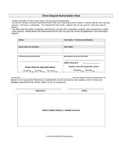 A form via which an employee authorizes direct deposit of paychecks, and includes a voided check for reference. Free to download and print
