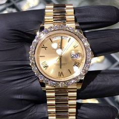 Custom Yellow Gold Rolex DayDate President With Oversized VS+ Diamond Bezel. Specially made for Custom Yellow Gold Rolex DayDate President With Oversized VS+ Diamond Bezel. Gold Rolex, Elegant Watches, Beautiful Watches, Stylish Watches, Casual Watches, Cartier, Swiss Army Watches, Seiko Watches, Patek Philippe