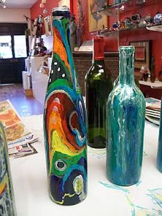 bottle art painting  Wine bottle art...my first try!! | Creations by Yours Truly ...