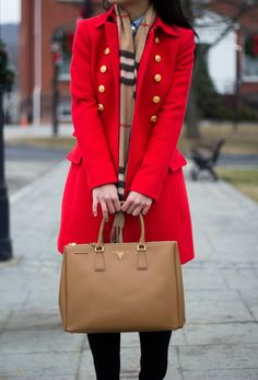 RED COAT AND CHECKED SCARF