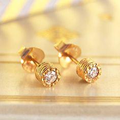 Gold Studs. Real Diamond Earring, Fine Jewelry, Dainty Studs, Gold Earrings, Handmade Earring, Gift For Her, Diamond Studs, April Birthstone