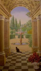 mural with fountain as centerpiece