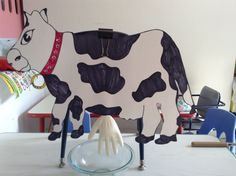 """Cow for milking on farm week. Poster board cow and a glove filled with milk taped to the back. We placed a bowl under the """"utters"""" to catch the milk so we can use it for a project later. Farm Animals Preschool, Farm Animal Crafts, Farm Crafts, Animal Crafts For Kids, Art For Kids, Preschool Farm Theme, Farm Activities, Animal Activities, April Preschool"""