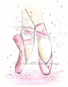 Art for American Girl dollhouse Ballet studio Ballet Drawings, Dancing Drawings, Art Drawings, Ballet Shoes Drawing, Shoe Drawing, Ballerina Kunst, Ballerina Sketch, Art Ballet, Ballet Studio
