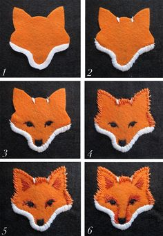 """Now that your embroidery is complete, you can cut out your fox face with a 1/4"""" to 1/8"""" border"""
