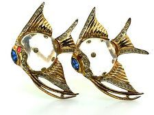 1944 A. KATZ CORO STERLING JELLY BELLY ANGELFISH FISH FIGURAL DUETTE PIN BROOCH