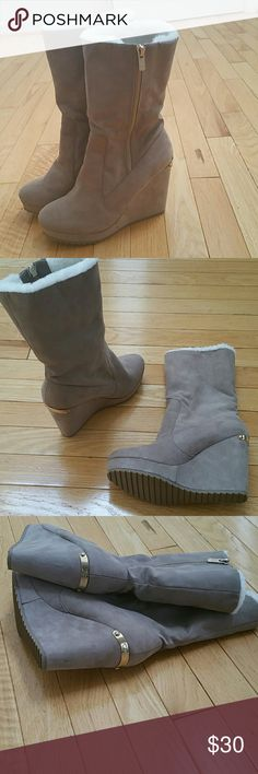 Juicy Couture taupe boots with polyester faux fur Juicy couture taupe boots with polyester faux fur. New, never worn Juicy Couture Shoes Winter & Rain Boots