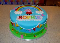 Laura R's Birthday / Peppa Pig, Rainbows - Photo Gallery at Catch My Party Peppa Pig Birthday Cake, Rainbow Birthday Party, First Birthday Cakes, 4th Birthday, Birthday Parties, Birthday Ideas, Pig Party, Novelty Cakes, Cupcakes