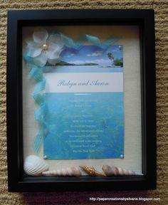 Shadow Box for a Beach Wedding Invitation
