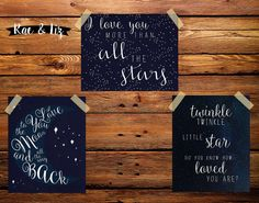 Moon and Stars Nursery Printable I Love You To the by RaeandLiz