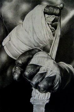 Hand wrapping before boxing fight, a must if you wanna save them for the next round! Love the art!
