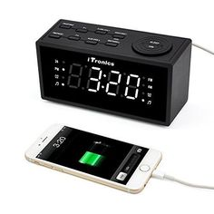 Bedside Digital Clock Radio Alarm LED w/ USB Charging Dual Bedroom AM FM Battery #iTronics
