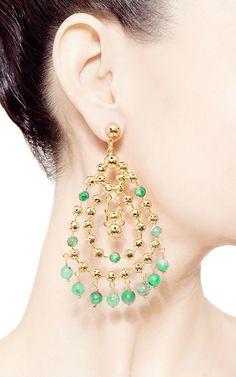 Barcelona Earrings With Emeralds by Paula Mendoza for Preorder on Moda Operandi