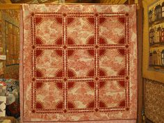 """New York Beauty. Made by Merri Garton. Designed by Michelle Yeo. Quilted by Lyn Hughes. 79""""x 79"""" beautiful toile fabric makes this quilt outstanding"""