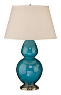 A pair of gourd lamps with a pop of color